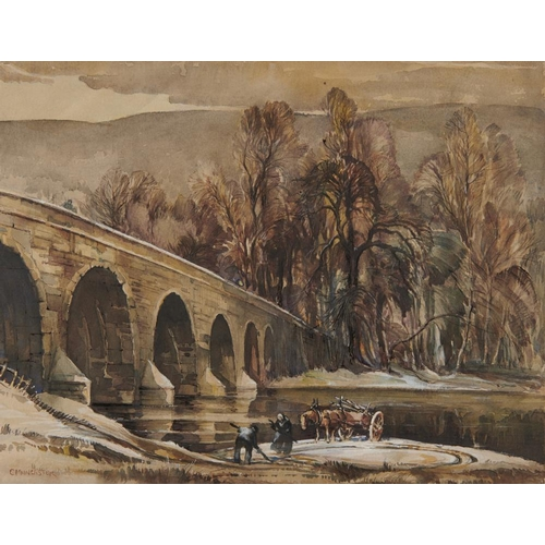 453 - <p>��CLAUDE MUNCASTER, RWS (1903-1974) COLLECTING DRIFTWOOD  signed, signed again and inscribed vers...