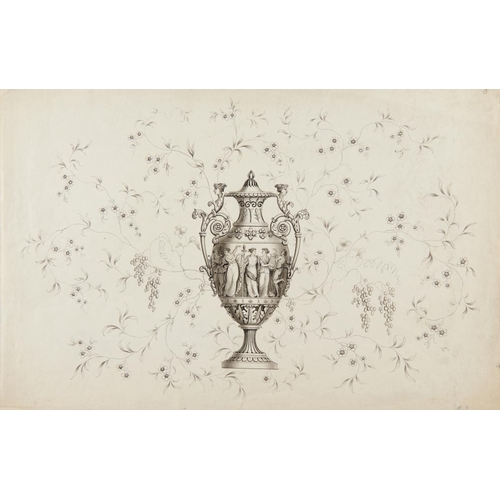 455 - <p>ROBERT HANCOCK OF WORCESTER (1730-1817) DESIGN FOR A NEO CLASSICAL VASE signed with initials, No ...