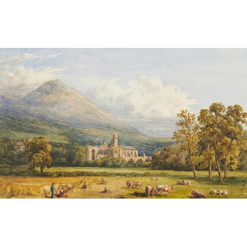 456 - <p>JULIA SWINBURN (1796-1893)) MELROSE ABBEY  signed and dated Dec 1830, watercolour, laid down on t...