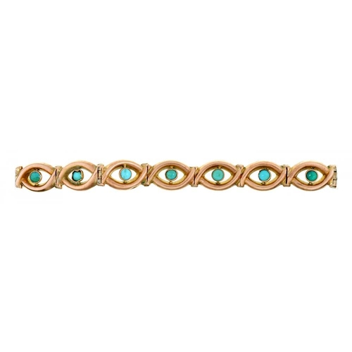 46 - <p>A VICTORIAN GOLD BRACELET, LATE 19TH C  each oval link centred by a turquoise collet, fully artic...