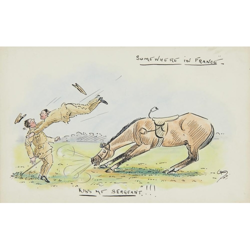 460 - <p>ENGLISH ILLUSTRATOR, 1916 HUMOROUS EQUINE INCIDENTS  a set of six, all signed with monogram RS, d...