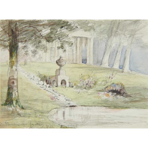 465 - <p>WILLIAM HENRY BROOKE (1772-1860) THE PARADISE SPA FOUNTAIN STOURHEAD WILTSHIRE; THE BACK CLUMP ST...