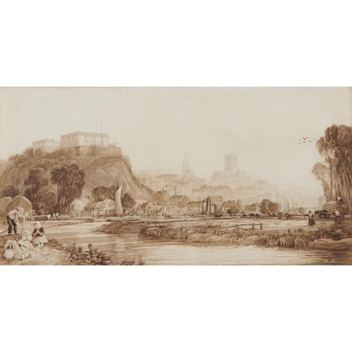 472 - <p>ANNE ENFIELD (MRS WILLIAM ENFIELD) NEE NEEDHAM (1801-1865) VIEW OF NOTTINGHAM FROM THE RIVER LEEN...