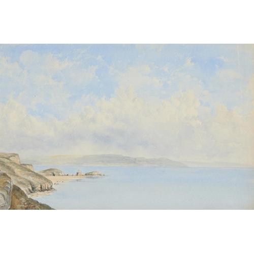 473 - <p>ENGLISH SCHOOL, 19TH CENTURY FIGURES ON A LAKE BENEATH A RUINED CASTLE  watercolour 30.5 x 47cm a...