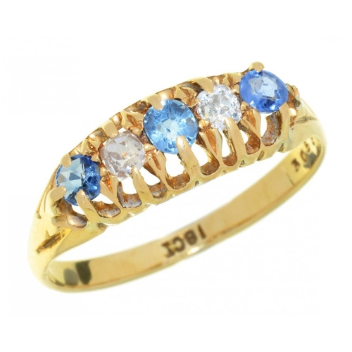5 - <p>A VICTORIAN SAPPHIRE AND OLD CUT DIAMOND RING in gold marked 18ct, 2g, size M</p><p></p>...
