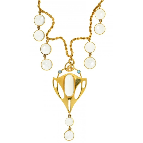 52 - <p>A GERMAN JUGENDSTIL MOONSTONE, OPAL AND GOLD PENDANT AND NECKLET FOR MURRLE, BENNETT & CO, LONDON...