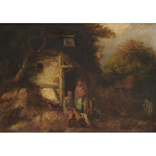 522 - <p>ATTRIBUTED TO WILLIAM SHAYER, SENIOR (1787-1879) RUSTICS AND A DOG AT AN INN  oil on panel, 20 x ...
