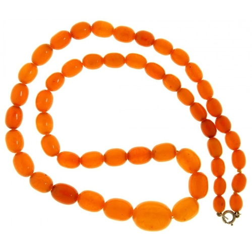 57 - <p>A NECKLACE OF  FIFTY ONE AMBER BEADS 51g</p><p></p>...