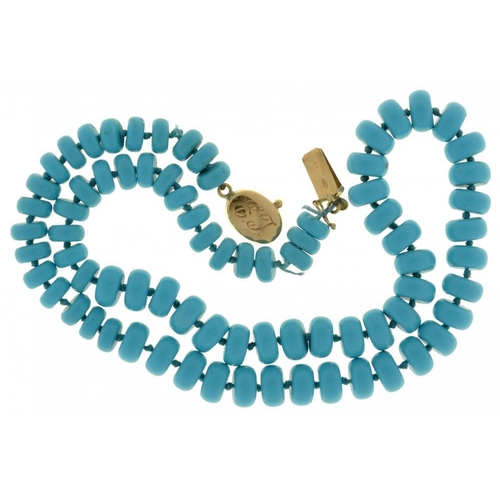 58 - <p>AN ITALIAN NECKLACE OF TURQUOISE BEADS  oval gold clasp, 50cm l, marked 750, 50g</p><p></p>...