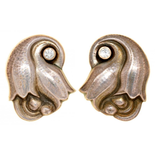 60 - <p>GEORG JENSEN.  A PAIR OF DANISH SILVER 'TULIP' EAR CLIPS, DESIGN 100A  with diamond collet, 2cm, ...