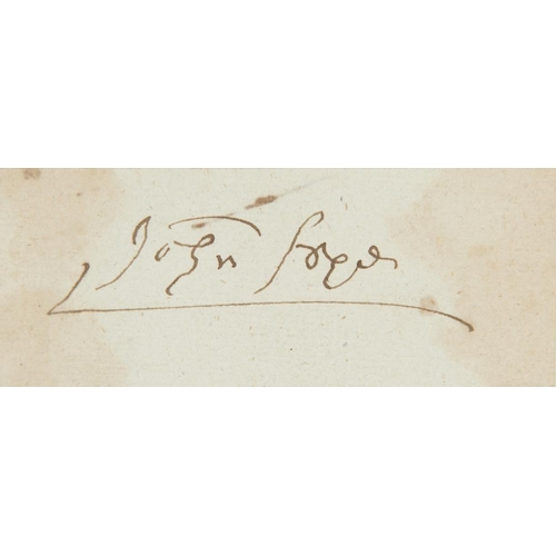 605 - <p>JOHN KNOX (C1513-1572) PIECE SIGNED  3.5 x 8.5cm, loosely laid down on an old alum leaf</p><p>Pro...