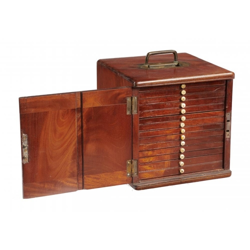616 - <p>A VICTORIAN MAHOGANY MICROSCOPE SLIDE CABINET, LATE 19TH C   with recessed brass handle and plain...