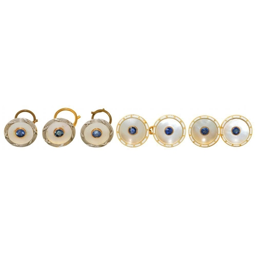62 - <p>A SAPPHIRE AND MOTHER OF PEARL DRESS SET  comprising  cufflinks and three buttons, in gold marked...