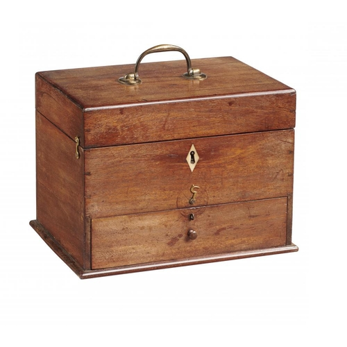 620 - <p>A VICTORIAN MAHOGANY DOMESTIC MEDICINE CHEST, MID 19TH C containing a quantity of blue, green and...