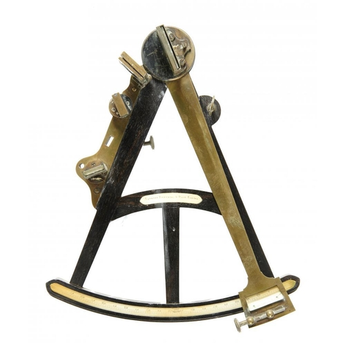 630 - <p>AN ENGLISH BRASS AND EBONY OCTANT, SPENCER BROWNING & RUST, LONDON, C1800  with divided ivory arc...