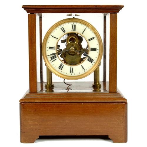 632 - <p>A MAHOGANY ELECTRO MAGNETIC MANTEL TIMEPIECE THE EUREKA CLOCK CO  NO 4200 C1910  with primrose en...