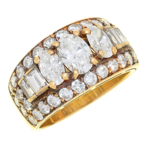 7 - <p>A DIAMOND TROMBINO RING BY BULGARI  the oval, baguette and brilliant cut diamonds  3ct approx, G ...