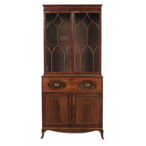 761A - <p>A GEORGE III MAHOGANY, SATINWOOD AND LINE INLAID SECRETAIRE BOOKCASE, C1810  the upper part fitte...
