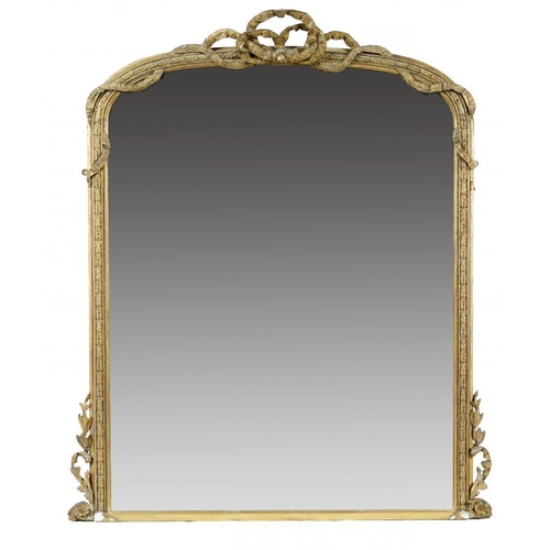 766 - <p>A VICTORIAN GILTWOOD AND COMPOSITION OVERMANTLE MIRROR, C1870 the low arched frame crested by a b...
