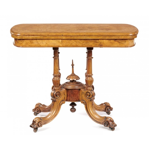 770 - <p>A VICTORIAN WALNUT AND INLAID CARD TABLE, C1870  with bow ended, quarter veneered top, 71cm h; 54...