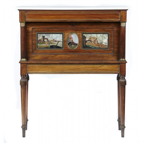 774 - <p>A REGENCY GILT BRASS MOUNTED ROSEWOOD WRITING CABINET, C1810, TWO OF THE PIETRE DURE PANELS GRAND...