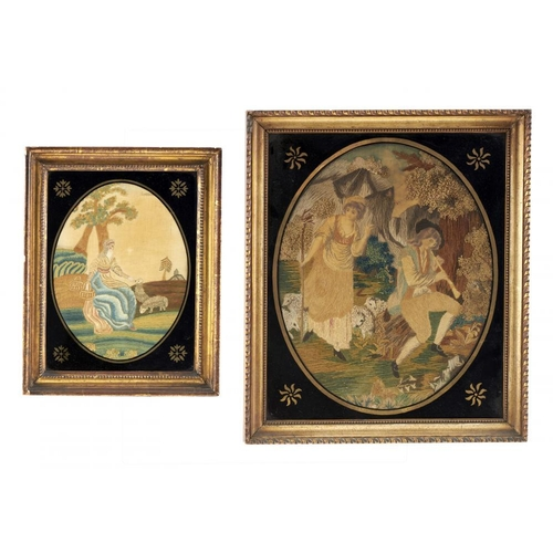1000 - <p>TWO REGENCY EMBROIDERED SILK PICTURES, EARLY 19TH C  the larger of a shepherdess and piping sheph...