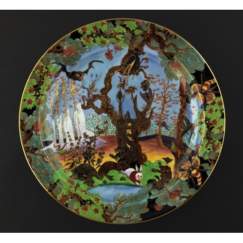 451 - <p>A WEDGWOOD FAIRYLAND LUSTRE ROUND DISH DESIGNED BY DAISY MAKEIG-JONES, C1920  decorated with the ...