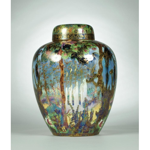 452 - <p>A WEDGWOOD FAIRYLAND LUSTRE MALFREY POT AND COVER  DESIGNED BY DAISY MAKEIG-JONES, C1920   decora...