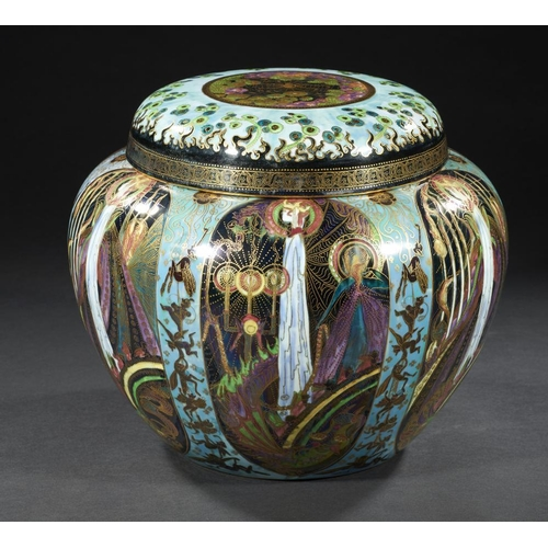 453 - <p>A WEDGWOOD FAIRYLAND LUSTRE MALFREY POT AND COVER DESIGNED BY DAISY MAKEIG-JONES, C1920   decorat...