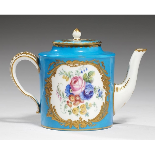 516 - <p>A S�VRES STYLE MINIATURE TEAPOT AND COVER, 19TH C  painted to either side with a bouquet in cisel...