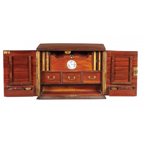 964 - <p>AN EDWARD VII MAHOGANY STATIONERY BOX, C1900-10  crossbanded in satinwood and line inlaid, the fu...
