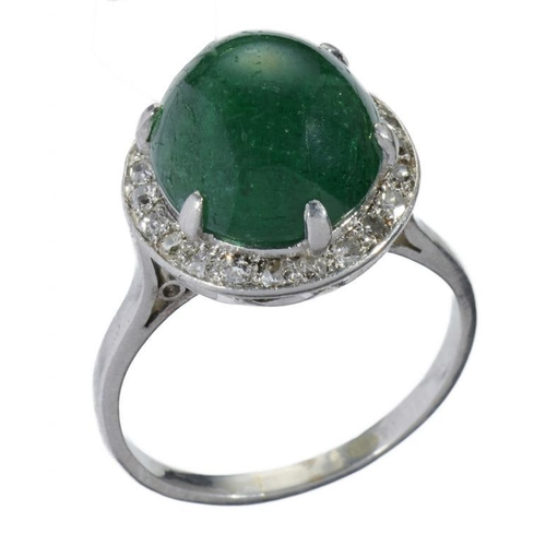 19 - <p>A CABOCHON EMERALD AND DIAMOND CLUSTER RING in platinum coloured metal, 6.7g, size N</p><p></p>...
