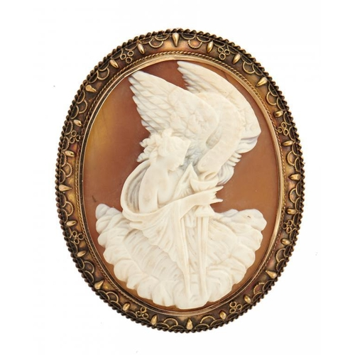 26 - <p>A VICTORIAN CAMEO BROOCH, C1860  the oval shell carved with Hebe, mounted in gold with applied fi...