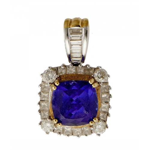 38 - <p>A TANZANITE AND DIAMOND PENDANT  the square cluster with larger intense coloured cushion shaped t...