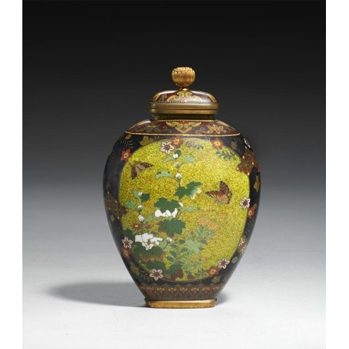 416 - <p>A   JAPANESE CLOISONNE ENAMEL VASE AND COVER BY NAMIKAWA YASUYUKI, C1880-90   with speckled green...