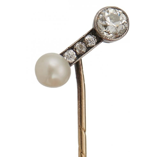 44 - <p>A GOLD STICKPIN WITH PEARL AND DIAMOND BATON TERMINAL, POSSIBLY RUSSIAN, C1900 terminal 1.6cm, in...