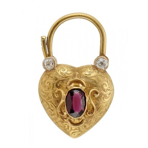 47 - <p>A VICTORIAN DIAMOND AND GARNET SET PADLOCK SHAPED GOLD LOCKET, C1860 3.3cm, 5.2g</p><p></p>...
