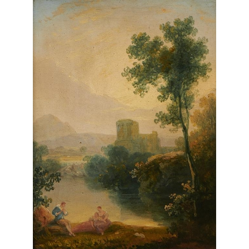 529 - <p>ATTRIBUTED TO WILLIAM PENGREE SHERLOCK (1775-C1821) CLASSICAL LANDSCAPE WITH FIGURES BY A RIVER  ...