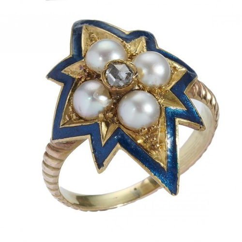 6 - <p>A VICTORIAN DIAMOND, SPLIT PEARL AND GOLD AND BLUE ENAMEL RING, LATE 19TH C  adapted, on reeded g...