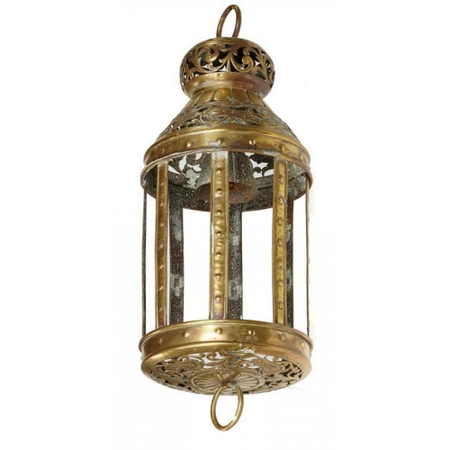 718 - <p>A DECORATIVE NORTHERN EUROPEAN SHEET BRASS LANTERN, LATE 19TH/EARLY 20TH C 51cm h excluding ring ...
