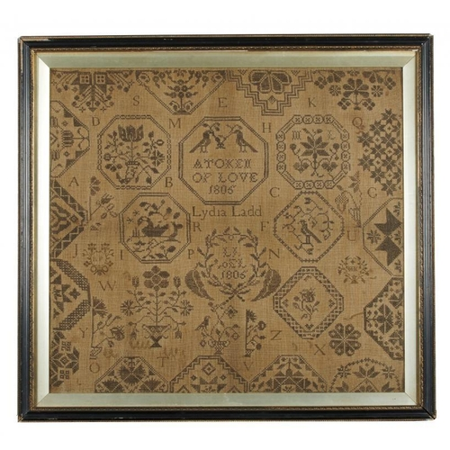721 - <p>ACKWORTH SCHOOL. AN ENGLISH  QUAKER MEDALLION SAMPLER BY LYDIA LADD, 1806  worked in monochrome o...
