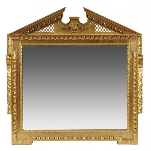 724 - <p>A   KENTIAN REVIVAL GILTWOOD OVERMANTEL MIRROR, LATE 19TH C  with egg and dart surround, 130cm h,...