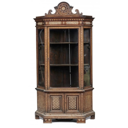 728 - <p>A NORTH ITALIAN BONE INLAID WALNUT ALLA CERTOSINA DECORATED CABINET, C1880  of splayed breakfront...