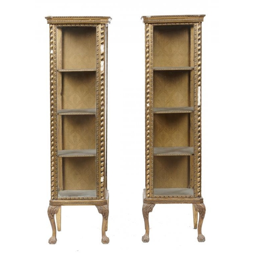 730 - <p>A PAIR OF GILTWOOD AND COMPOSITION   CABINETS, C1920  with three glazed sides and fabric covered ...