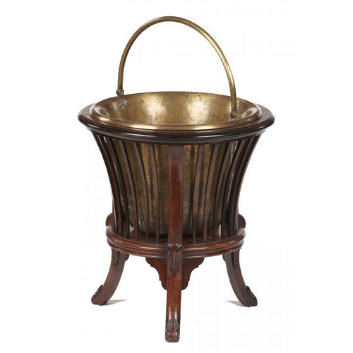 732 - <p>A DUTCH MAHOGANY BUCKET OR TEESTHOF, 19TH C with slatted sides on carved legs, brass pail with sw...