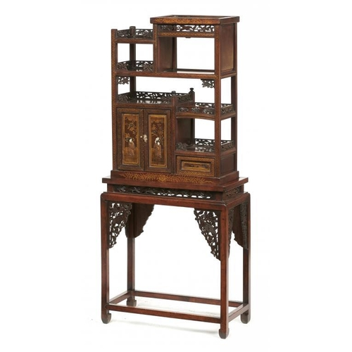 738 - <p>A JAPANESE CARVED AND LACQUERED WOOD CABINET AND STAND, MEIJI PERIOD the pair of doors with panel...