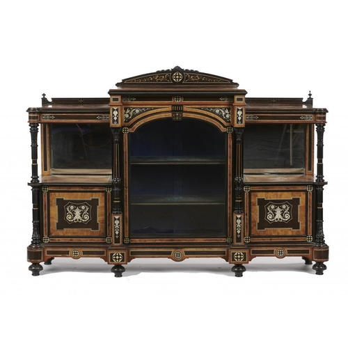 740 - <p>A VICTORIAN IVORY INLAID, PENWORK, EBONISED AND WALNUT SIDE CABINET, C1870  the back inset with r...