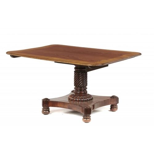 742 - <p>A WILLIAM IV MAHOGANY BREAKFAST TABLE, C1830-40  the crossbanded oblong tip-up top on spirally re...
