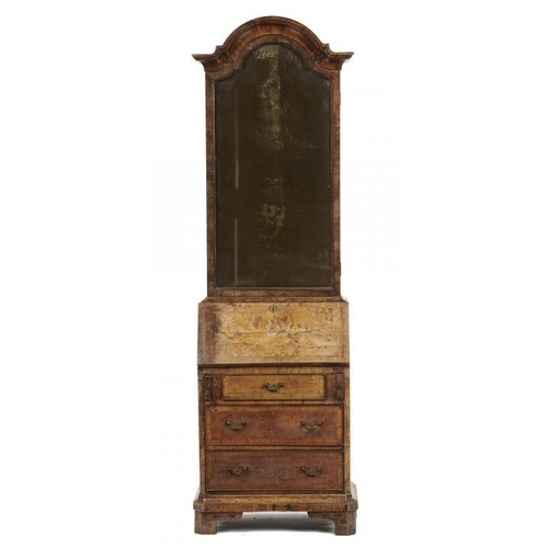 747 - <p>A WALNUT BUREAU CABINET OF UNUSUALLY SMALL SIZE IN GEORGE II STYLE, LATE 19TH/EARLY 20TH C  the b...