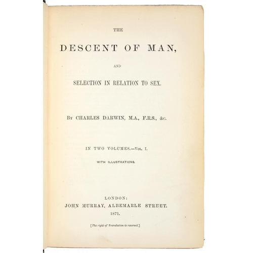 122 - <p>DARWIN, CHARLES</p><p>THE DESCENT OF MAN, AND SELECTION IN RELATION TO SEX</p><p>London, John Mur...
